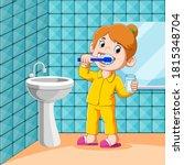 the girl is brushing her teeth... | Shutterstock .eps vector #1815348704