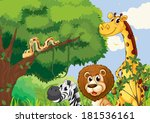 illustration of a forest with... | Shutterstock . vector #181536161