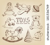 retro hand drawn toys  doll... | Shutterstock .eps vector #181536749