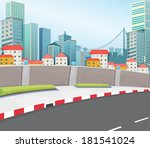 illustration of a city with... | Shutterstock . vector #181541024