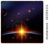 Detailed vector illustration of Earth sunrise and space - stock vector