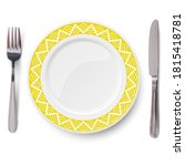 empty yellow plate with white...   Shutterstock . vector #1815418781