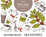 coffee cups  and beans... | Shutterstock .eps vector #1815424001