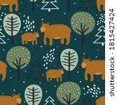 seamless pattern  bears  fir... | Shutterstock .eps vector #1815427424
