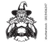 creepy witch wearing hat and... | Shutterstock .eps vector #1815436247