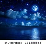 Super Moon In Starry Sky With...