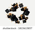 black gift boxes levitate and... | Shutterstock .eps vector #1815615857