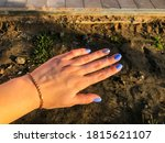 Hand With Blue Manicure On San...