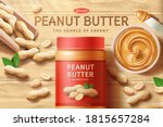 peanut butter spread with bowl... | Shutterstock .eps vector #1815657284