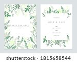 floral wedding invitation card...   Shutterstock .eps vector #1815658544