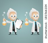 scientist holds test tube and... | Shutterstock .eps vector #181566104