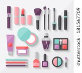 set of colored cosmetics icons...