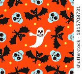 skulls and bats on an orange... | Shutterstock .eps vector #1815708731