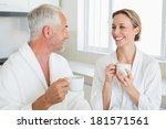 smiling couple having coffee at ... | Shutterstock . vector #181571561