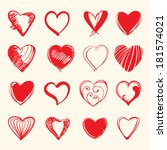 set of hand draw hearts. vector ... | Shutterstock .eps vector #181574021