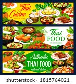 Thai Food Dishes Vector Banners....