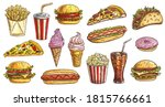 sketch fast food meals isolated ... | Shutterstock .eps vector #1815766661