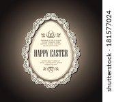 easter card with vintage frame... | Shutterstock .eps vector #181577024