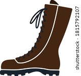 hiking boot icon. flat color...