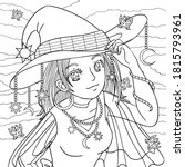 Girl Portrait In Witch Hat Wit...