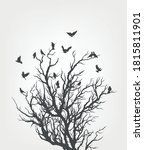 figure flock of flying birds on ... | Shutterstock .eps vector #1815811901