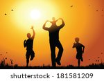 Father with sons walk at sunset - stock vector