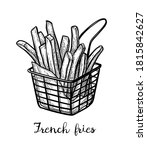 french fries. fried potatoes.... | Shutterstock .eps vector #1815842627