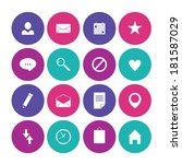 set of flat icons for mobile... | Shutterstock . vector #181587029