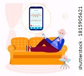 wireless ecg monitoring at home ... | Shutterstock .eps vector #1815905621