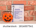 Halloween Treat or Treat Scavenger Hunt List on October 2020 Calendar notepad