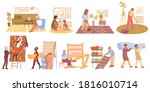 flat icons set with carpets in...   Shutterstock .eps vector #1816010714