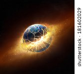 planet earth explode in space   ... | Shutterstock . vector #181602029