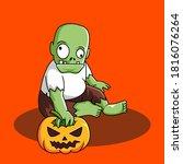 halloween cartoon character... | Shutterstock .eps vector #1816076264