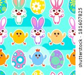 cute seamless easter pattern... | Shutterstock .eps vector #181607825