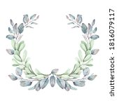 watercolor christmas wreath.... | Shutterstock . vector #1816079117