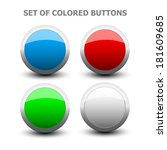 set of colored buttons on white ... | Shutterstock . vector #181609685