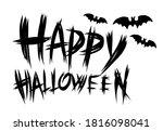 happy halloween slogan with... | Shutterstock .eps vector #1816098041