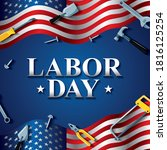 happy labor day with work tools ... | Shutterstock .eps vector #1816125254