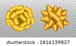 gold gift bows isolated on grey ... | Shutterstock .eps vector #1816139837