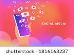 social media app with speech... | Shutterstock .eps vector #1816163237