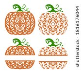 halloween. collection of orange ... | Shutterstock .eps vector #1816176044