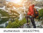 Woman Hiker  Hiking Backpacker...