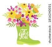 bouquet of pink flowers in... | Shutterstock .eps vector #1816240031