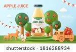 fresh apple juice ad in 3d... | Shutterstock .eps vector #1816288934