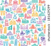 hand drawing. set travel icons. ... | Shutterstock .eps vector #181629299