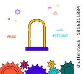 bicycle u lock filled line icon ...