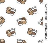 Cute Sloth Loves Coffee Cartoon ...