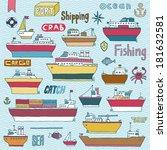 ships doodle set. vector... | Shutterstock .eps vector #181632581