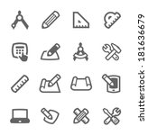 simple set of blueprint and... | Shutterstock .eps vector #181636679
