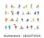 people flat vector set. crowd....   Shutterstock .eps vector #1816371014